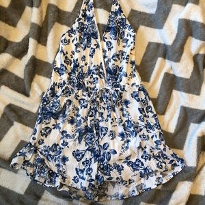 white and blue floral romper